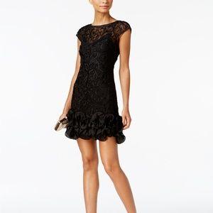 GUESS Floral-Lace Ruffled-Hem Sheath Dress Black